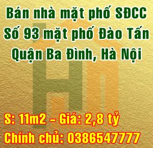 Bán nhà mặt phố số 93 phố Đào Tấn, Quận Ba Đình, Hà Nội