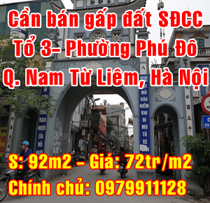 Bán gấp mảnh đất Quận Nam Từ Liêm, Tổ 3 Phường Phú Đô