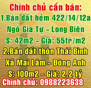Chính chủ bán nhà đất tại Quận Long Biên và Huyện Đông Anh
