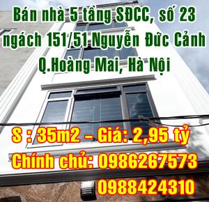 Bán nhà ngách 151/51 Nguyễn Đức Cảnh, Quận Hoàng Mai, Hà Nội