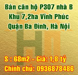 Bán căn hộ P307 nhà B khu 7,2ha Vĩnh Phúc, Quận Ba Đình, Hà Nội
