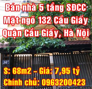 Bán nhà Quận Cầu Giấy, mặt ngõ 132 phố Cầu Giấy, Phường Dịch Vọng