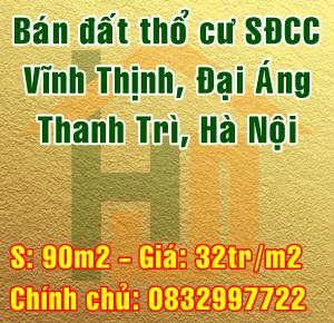 Bán đất thổ cư Huyện Thanh Trì, Thôn Vĩnh Thịnh, Xã Đại Áng