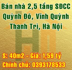 Bán nhà riêng tại Huyện Thanh Trì, Thôn Quỳnh Đô, Xã Vĩnh Quỳnh