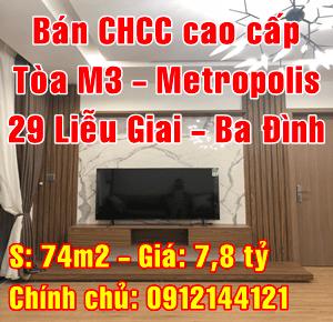 Bán căn hộ chung cư cao cấp Metropolis 29 Liễu Giai, Ba Đình, tòa M3