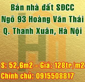 Bán nhà Quận Thanh Xuân, số 84 ngách 20 ngõ 93 Hoàng văn Thái