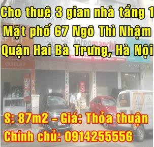Cho thuê mặt bằng phố Ngô Thì Nhậm, Quận Hai Bà Trưng