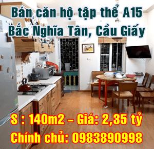 Bán nhà tập thể P55-A15 Bắc Nghĩa Tân, phường Nghĩa Tân, Quận Cầu Giấy