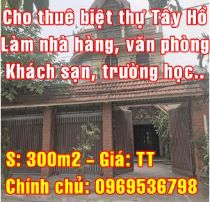 Chính chủ cho thuê biệt thự Tây Hồ đường Âu Cơ, Quận Tây Hồ, Hà Nội