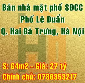 Chính chủ bán nhà mặt phố Lê Duẩn, Quận Hai Bà Trưng, Hà Nội