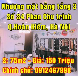 Sang nhượng mặt bằng số 34 Phố Phan Chu Trinh, Quận Hoàn Kiếm, Hà Nội