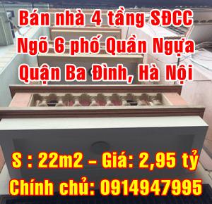 Bán nhà ngõ 6 phố Quần Ngựa, Quận Ba Đình, Hà Nội
