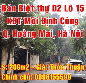 Chính chủ bán biệt thự khu Đô thị mới Định Công, Quận Hoàng Mai, Hà Nội