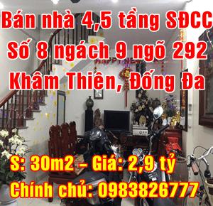 Chính chủ bán nhà Quận Đống Đa, số 8 ngách 9 ngõ 292 Khâm Thiên