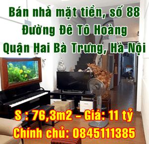 Bán nhà số 88 mặt đường Đê Tô Hoàng, Quận Hai Bà Trưng, Hà Nội