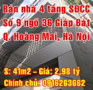 Cần bán nhà Quận Hoàng Mai,  số 9 ngõ 36 Giáp Bát