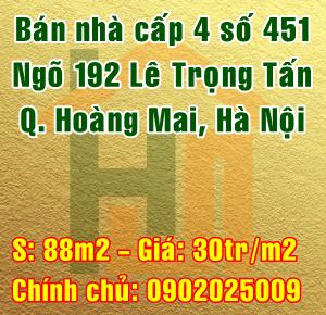 Bán nhà Quận Hoàng Mai, Số 451 ngõ 192 Lê Trọng Tấn