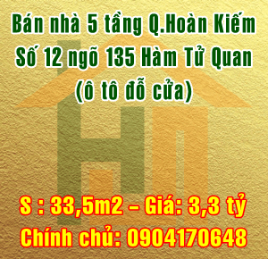 Bán nhà Quận Hoàn Kiếm, số 12 ngõ 135 Hàm Tử Quan, phường Phúc Tân