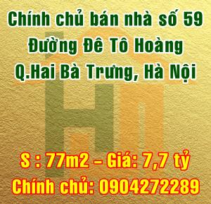 Bán nhà số 59 đường Đê Tô Hoàng, Cầu Dền, Quận Hai Bà Trưng, Hà Nội