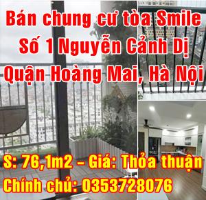 Bán chung cư Smile, số 1 Nguyễn Cảnh Dị, Quận Hoàng Mai