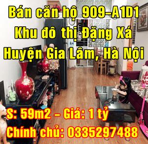 Bán căn hộ 909 tầng 9 A1D1, Khu đô thị Đặng Xá 1, Huyện Gia Lâm, Hà Nội