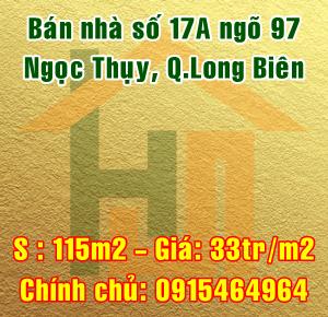 Bán nhà số 17A ngõ 97 Ngọc Thụy, quận Long Biên, Hà Nội