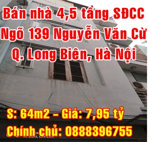 Bán nhà Quận Long Biên, Ngõ 139 Nguyễn Văn Cừ, Phường Ngọc Lâm