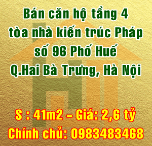 Bán căn hộ tầng 4, số 96 Phố Huế, Quận Hai Bà Trưng, Hà Nội