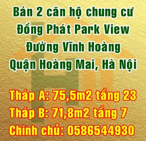 Bán 2 căn hộ chung cư Đồng Phát Park View Tower, Quận Hoàng Mai