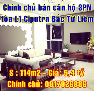 Chính chủ bán căn hộ tòa L1 Ciputra, Quận Bắc Từ Liêm