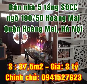 Bán nhà 5 tầng ngõ 197/50 đường Hoàng Mai, Quận Hoàng Mai