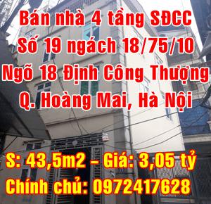 Bán nhà Quận Hoàng Mai, Số 19, ngách 18/75/10 ngõ 18 Định Công Thượng