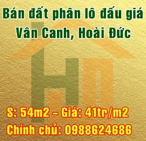 Bán đất phân lô đấu giá tại Vân Canh, Hoài Đức, Hà Nội