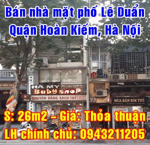 Bán nhà mặt phố Lê Duẩn, phường Cửa Nam, Quận Hoàn Kiếm