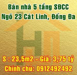 Bán nhà 5 tầng ngõ 23 phố Cát Linh, quận Đống Đa, Hà Nội