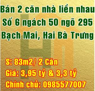 Bán nhà Quận Hai Bà Trưng, số 6 ngách 50 ngõ 295 Bạch Mai