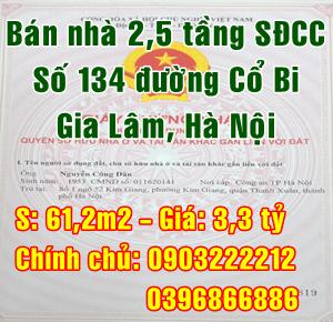 Chính chủ cần bán nhà Huyện Gia Lâm, ngõ 134 đường Cổ Bi