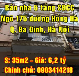 Bán nhà Quận Ba Đình, ngõ 175 đường Hồng Hà, khu phân lô Phúc Xá