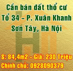 Chính chủ cần bán đất tại tổ 34 Phường Xuân Khanh, Thị xã Sơn Tây, Hà Nội