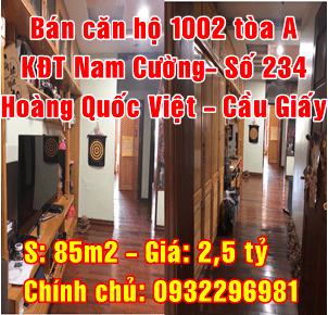 Bán căn hộ tòa A KĐT Nam Cường, số 234 Hoàng Quốc Việt, Quận Cầu Giấy