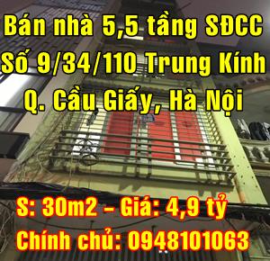 Bán nhà Quận Cầu Giấy  số 9/34/110 phố Trung Kính, Phường Yên Hòa