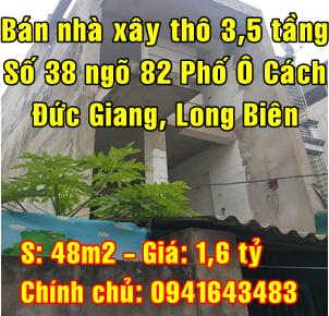 Bán nhà xây thô Quận Long Biên,  số 38 ngõ 82 Phố Ô Cách ,Phường Đức Giang