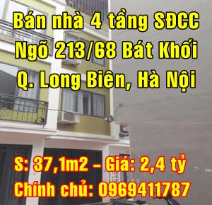 Chính chủ cần bán nhà ngõ 213/68 đường Bát Khối, Quận Long Biên Hà Nội