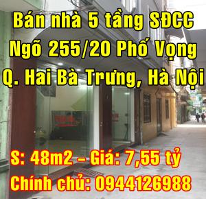 Chính chủ bán nhà Quận Hai Bà Trưng, Số 1 ngõ 255/20 Phố Vọng