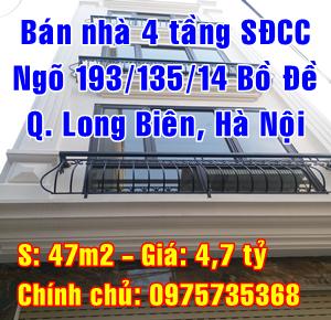 Bán nhà Quận Long Biên, Số 64 ngõ 193/135/14 Bồ Đề