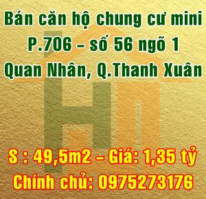 Bán chung cư P.706 - số 56 ngõ 1 Quan Nhân, Quận Thanh Xuân