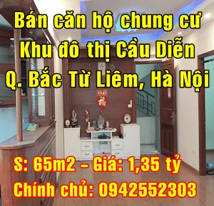 Bán căn hộ chung cư tại KĐT Cầu Diễn, Quận Bắc Từ Liêm, 1,35 tỷ