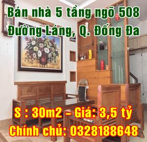 Bán nhà ngõ 508 đường Láng, phường Láng Hạ, Quận Đống Đa, Hà Nội
