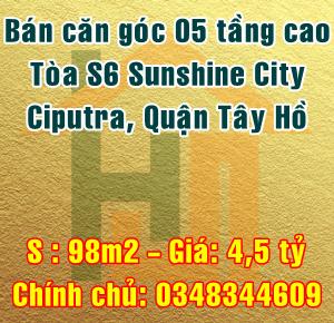 Bán căn góc  toà S6, chung cư Sunshine City, Ciputra, Quận Tây Hồ, Hà Nội