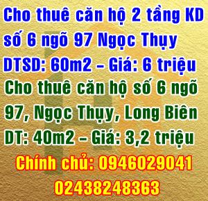 Cho thuê căn hộ ở và căn hộ kinh doanh ngõ 97 Ngọc Thụy, quận Long Biên